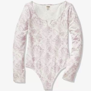 PINK Victoria's Secret Long Sleeve Snake Bodysuit